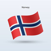 Norway flag waving form. Vector illustration. — Stock Vector