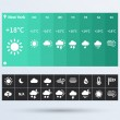 Stock Vector: Weather Widget UI set of flat design trend.