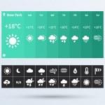 Weather Widget UI set of the flat design trend. — Stock Vector