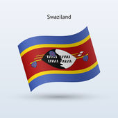 Swaziland flag waving form. Vector illustration. — Stock Vector