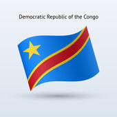 Democratic Republic of the Congo flag waving form. — Stock Vector