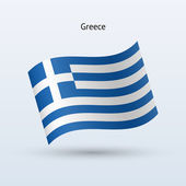 Greece flag waving form. Vector illustration. — Stock Vector