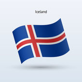 Iceland flag waving form. Vector illustration. — Stock Vector