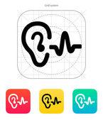 Icona del suono udito orecchio. — Vettoriale Stock
