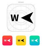 West richting kompas pictogram. — Stockvector