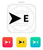 ícone de bússola direção leste. — Vetorial Stock