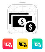 Dollar banknote and coin icon. — Stock Vector