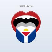 Saint-martin język. streszczenie ludzki język. — Wektor stockowy