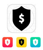 Financial security shield with dollar sign icon. — Stock Vector