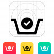 Shopping basket check icon. — Stock Vector