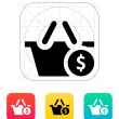 Shopping basket with dollar sign icon. — Vettoriali Stock