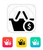 Shopping basket with dollar sign icon. — Stock Vector