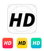 HD quality video icon. — Stock Vector