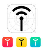Antenna broadcasting radio signal icon. — Stockvector