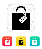 Shopping bag with label icon. — Stock Vector