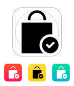 Shopping bag check icon. — Stock Vector