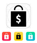 Bag with price icon. — Stock Vector