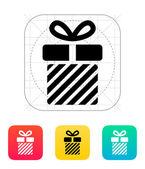 Striped gift box icon. — Stock Vector
