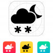 Night snowfall weather icon. — Stock Vector