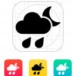 Night downpour weather icon. — Stock Vector
