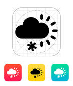 Cloudy with snow weather icon. — Cтоковый вектор