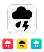 Rain with lightning weather icon. — Stok Vektör