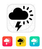 Lightning with sun weather icon. — Vector de stock