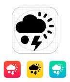 Hail with lightning weather icon. — Stockvektor