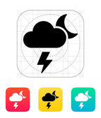 Lightning at night weather icon. — Vector de stock