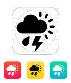 Rain with lightning weather icon. — Vector de stock
