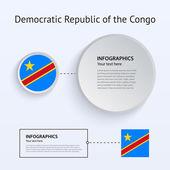 Democratic Republic Congo Country Set of Banners. — Stock Vector
