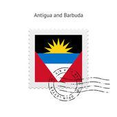 Antigua and Barbuda Flag Postage Stamp. — Stock Vector