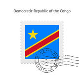 Democratic Republic of the Congo Flag Postage Stamp. — Stock Vector