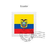 Ecuador Flag Postage Stamp. — Stock Vector