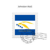 Johnston Atoll Flag Postage Stamp. — Stock Vector