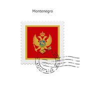 Montenegro Flag Postage Stamp. — Stock Vector