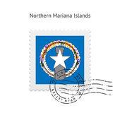 Northern Mariana Islands Flag Postage Stamp. — Stockvector