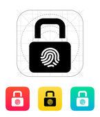 Fingerprint secure lock icon. — Stock Vector