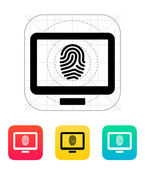 Desktop fingerprint icon. — Vettoriale Stock