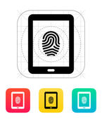 Tablet fingerprint icon. — Stock Vector