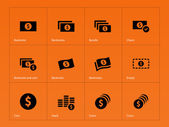 Dollar Banknote icons on orange background. — Stock Vector
