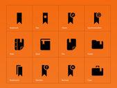 Bookmark, favorite icons on orange background. — Stock Vector