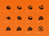 Box icons on orange background. — Stock Vector