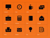 Business icons on orange background. — Stock Vector