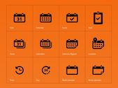 Calendar icons on orange background. — Stock Vector
