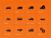 Cars and Transport icons on orange background. — Stock Vector