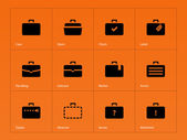Case icons. Traveling bags and luggage. — Stock Vector