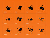 Checkout icons on orange background. — Stockvector