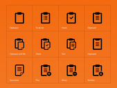 Clipboard icons on orange background. — Stock Vector