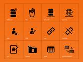 Database icons on orange background. — Vecteur